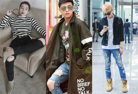 """Ngắm các sao nam Việt """"tơi tả"""" với quần jeans rách"""